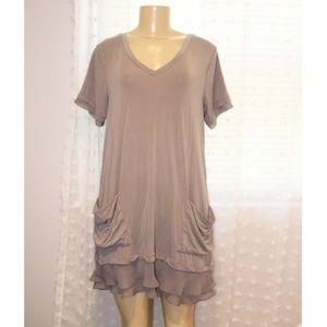 Tunic Dress Top Cotton with Chiffon Trim